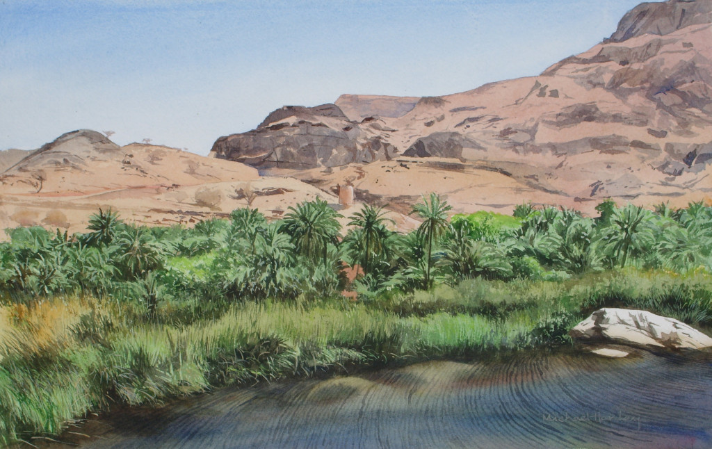 Wadi with white rock 2007  watercolour   300 x 500  Diwan of the Royal Court, The Sultanate of Oman