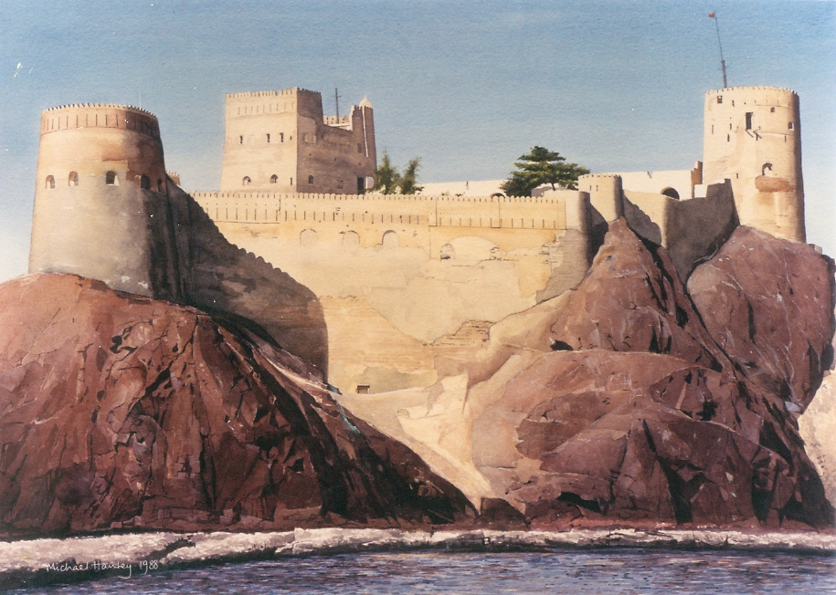 Fort Jalali from the sea, Muscat, Oman 1992  watercolour  500 x 700