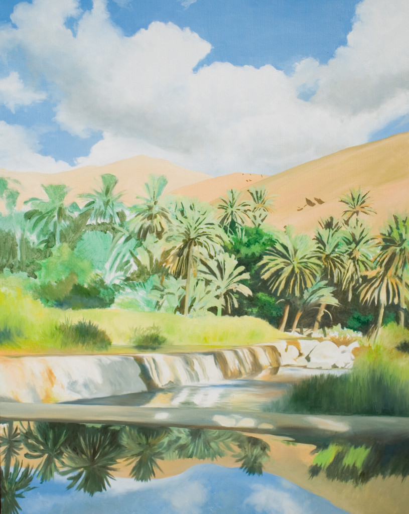 Falaj and palms 2013  oil on linen  890 x 740   Diwan of the Royal Court, The Sultanate of Oman