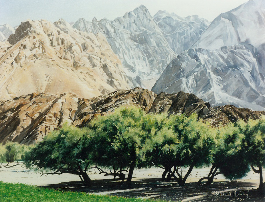 Jebel Oman with trees 1992  oil on linen  740 x 940  Diwan of the Royal Court, The Sultanate of Oman