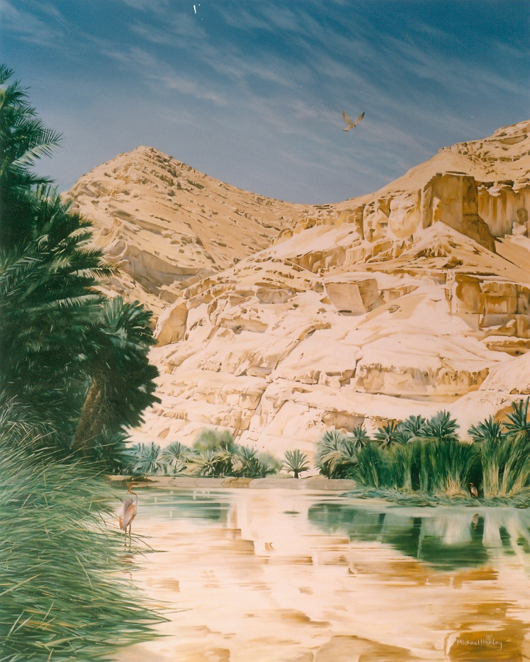 Oman Wadi with hawk and Purple Herons 1991 oil on linen 940 x 790  Diwan of thge Royal Court, The Sultanate of Oman