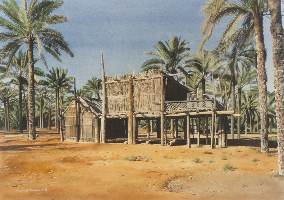 Palm Frond Building, Oman 1988  watercolour  540 x 750  Diwan of the Royal Court, The Sultanate of Oman