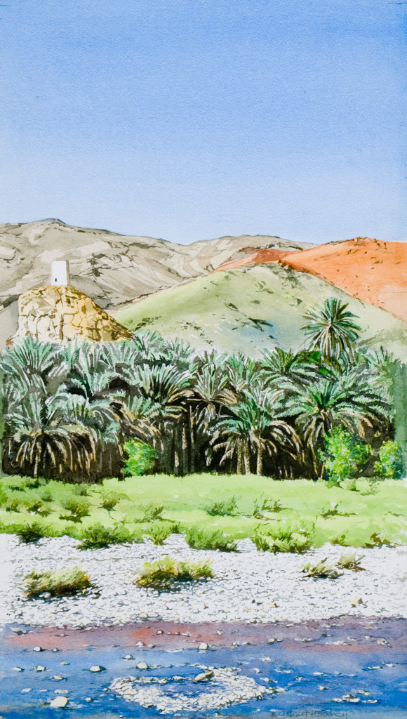 Wadi, palms and turret 2012   watercolour  620 x 340  Diwan of the Royal Court, The Sultanate of Oman