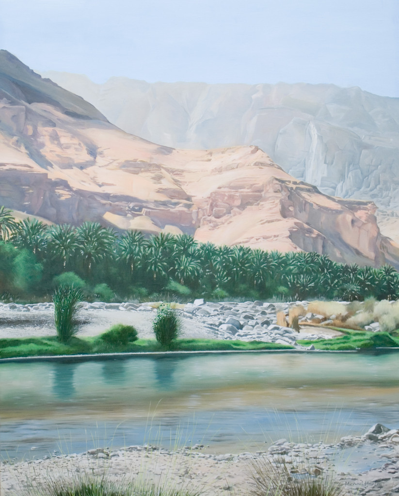 Wadi with bluff 2012  oil on linen  890 x 570   Diwan of the Royal Court, The Sultanate of Oman