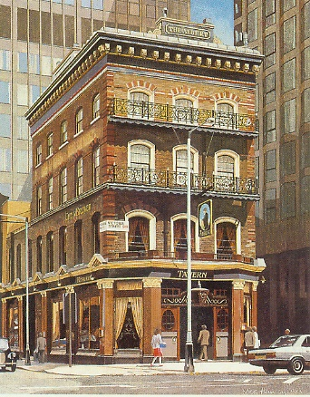 The Albert, Victoria Street SW1 1985  egg  tempera 600 x 450  Chef and Brewer