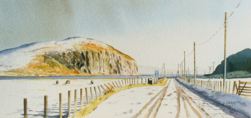 Davaar Island Campbeltown 1995  watercolour 300 x 600