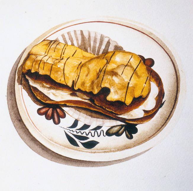 Eclair met slagroom 1978  watercolour   200 x 200   private collection