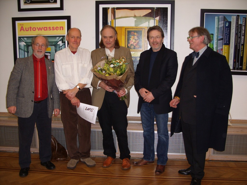 Four British Artists l-r - Mick Hanley - Graham Underhill - John Farley (conductor Portsmouth Sinfonia) - Ian Southwood - Brendan Kennedy - Pulchri Studio The Hague 3.2008 158