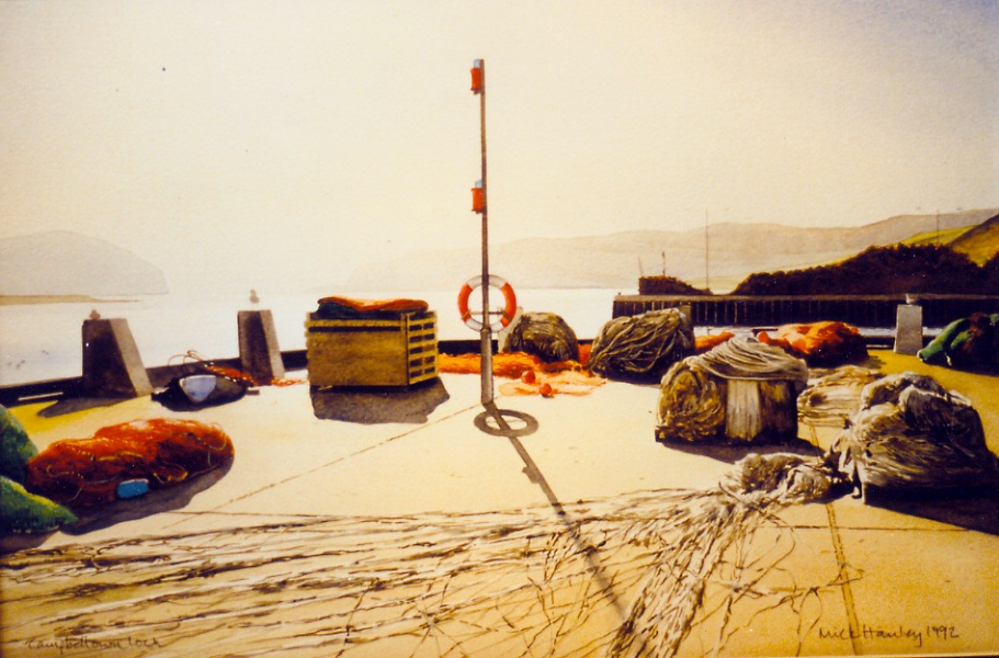 Harbourside Campbeltown 1996  watercolour  450 x 600