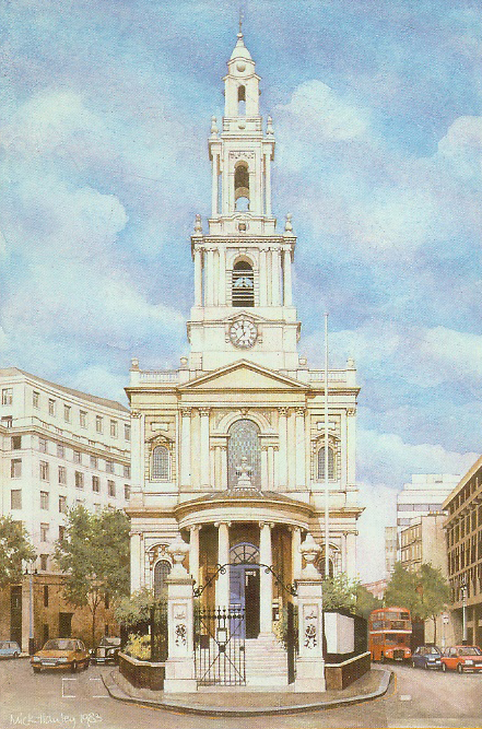 St Mary le Strand London 1982 egg tempera  450 x 300  private collection